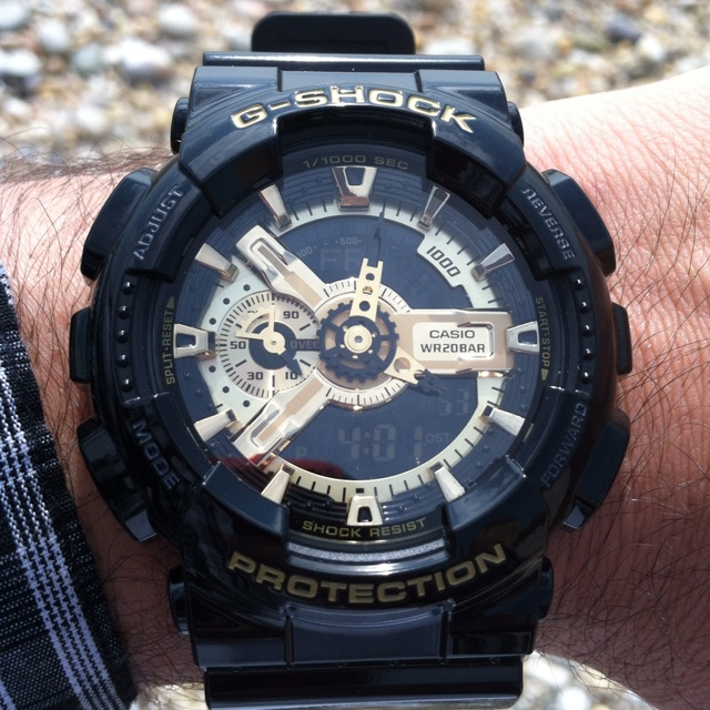 black and gold g shock watches