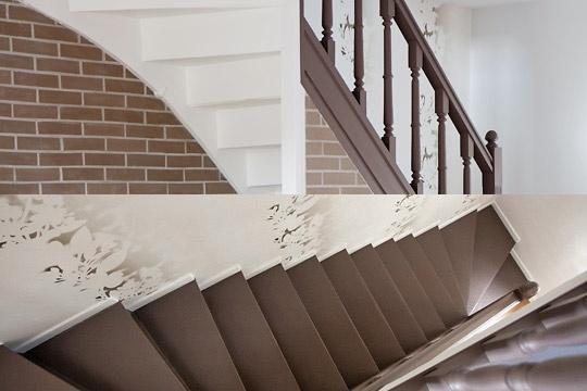 Papier peint elitis escalier bicolore halls by mhd - Papier peint escalier ...