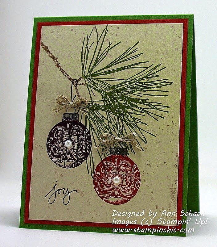 Stampin' Up! ... handmade Christmas card from The Stampin' Schach ... country feel the deep burgundy and green ... pine branch and two ornaments perfectly balanced ...  wonderful card!