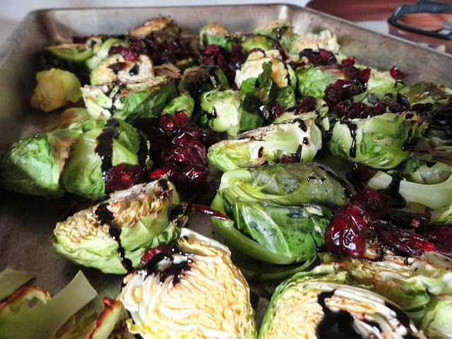 Roasted Brussels Sprouts with Balsamic Reduction and Dried Cranberries