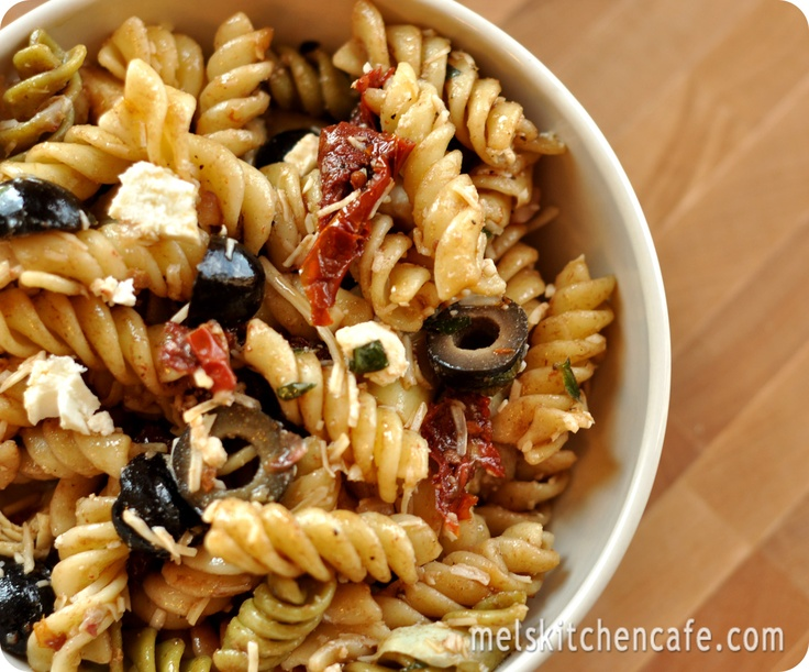 Mediterranean Pasta Salad. Brought this to a friend's barbeque...a ...