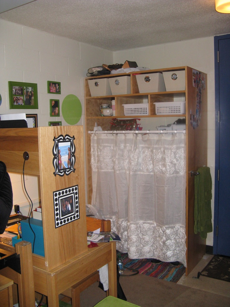 Dorm Room Idea To Cover Closet Area Take A Shower Curtain