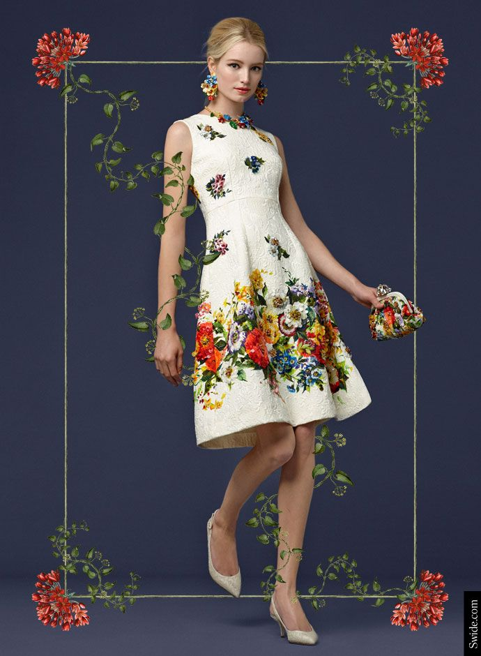 Посмотрите Дня Dolce & Gabbana осень 2014 Преколлекция женской одежды: цветочный принт Вышитые Brocade платье