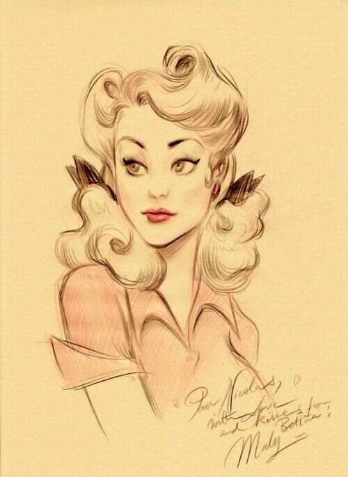 Pin Up Girl Drawings Tumblr Pretty pin up girl drawing. via chrystal gibson