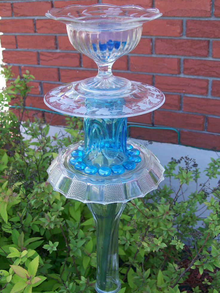 Recycled glass garden sculpture candle holder bird feeder - Recycled glass garden art ...