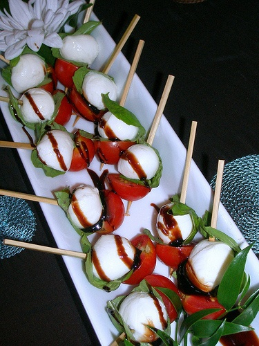 tomato mozzarella and basil skewers | FOOD NETWORKing | Pinterest