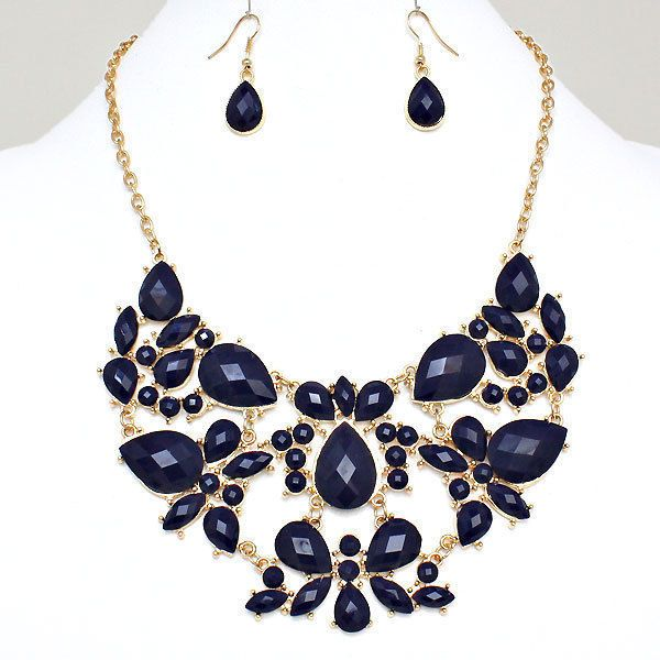 navy blue gold tone bib statement costume jewelry