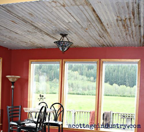 Back room ceiling for scotty to see pinterest for Old barn tin ideas