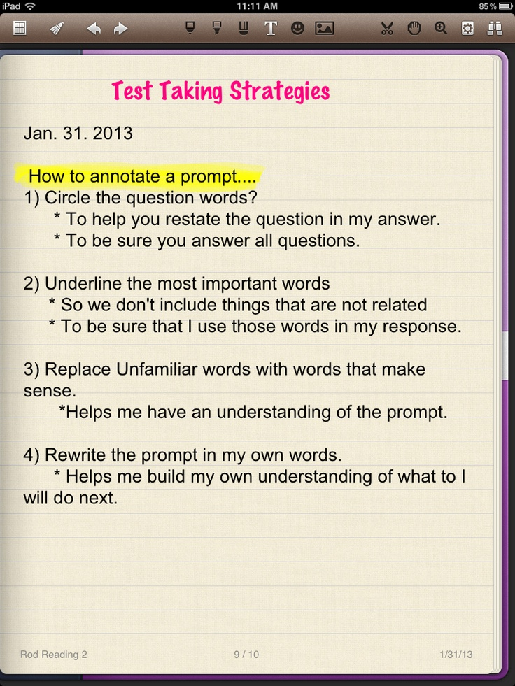 Strategies For Taking An Essay Test