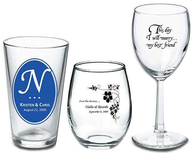 Customized Wedding Beer Glasses : Beer and wine glass wedding favors! #wedding #beer #wine #partyfavors