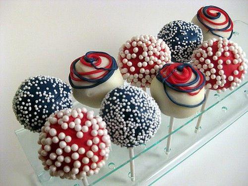 Red, blue, and white cake pops. | Cake pops | Pinterest