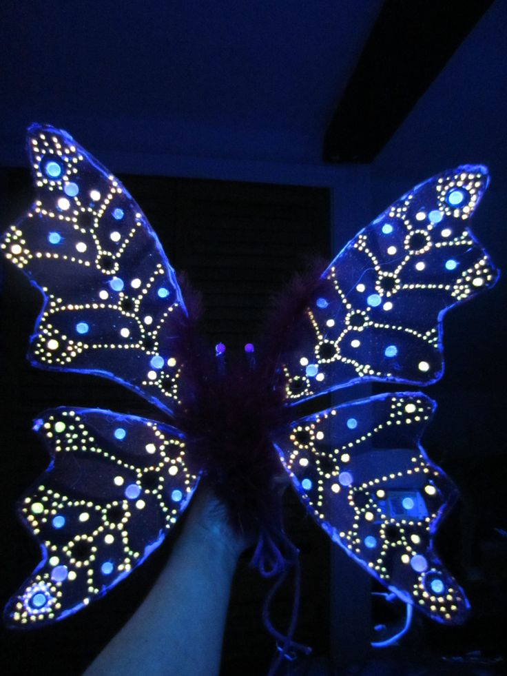 Children s or Adult Glow in the Dark Fairy Wings Costume Hand made One    Dark Blue Fairy Wings