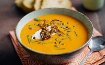 Shallot, Pumpkin and Red Pepper Soup with Candied Shallot and Pumpkin ...