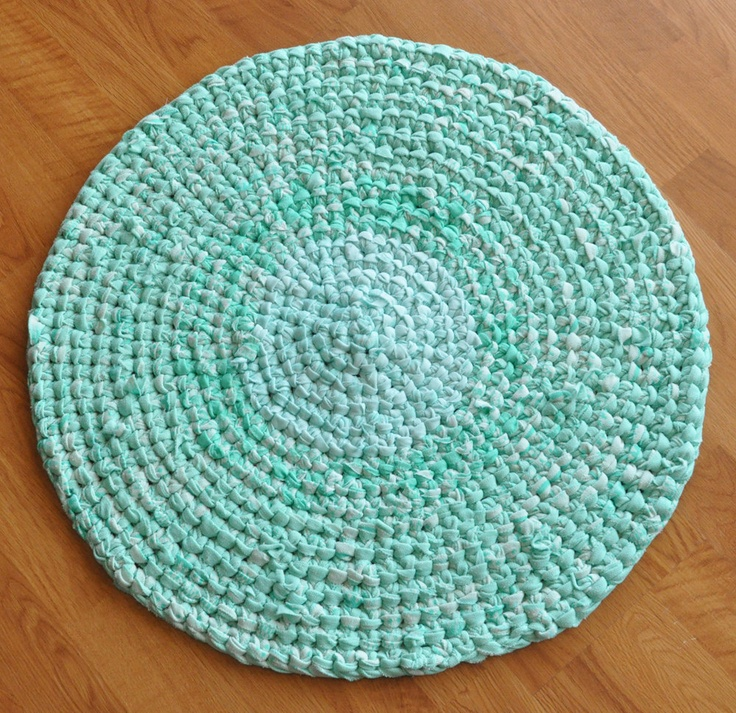 Bath Rug Mat After Dinner Mint Pastel Green Upcycled Rug