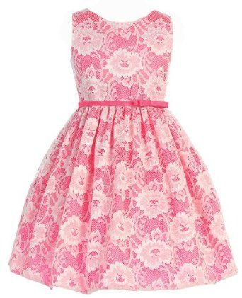 girls pink lace flower girl dress