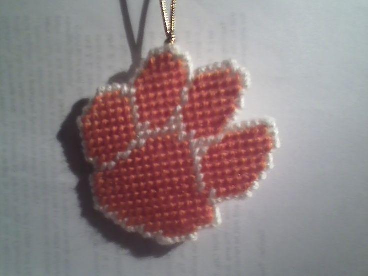 Clemson Tiger Paw plastic canvas ornament