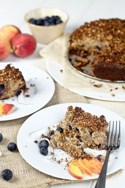 Peaches and Blueberry Coffee Cake - The Healthy Foodie