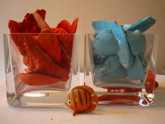 Tangerine Shell Home Decor Arrangement Of Sea Shells