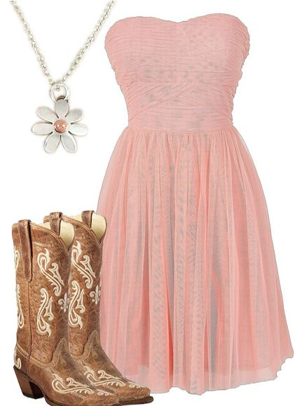 strapless pink country girl dress style collages pinterest