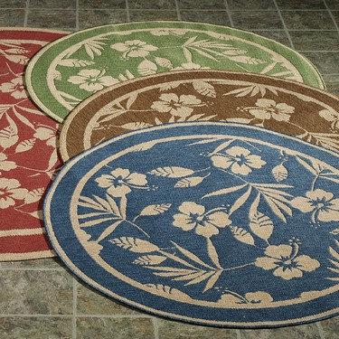 round Hibiscus outdoor rug Terra cotta
