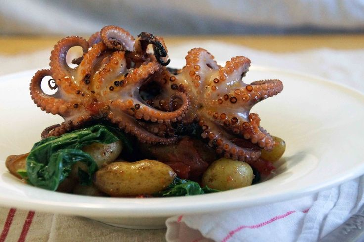 Grilled Baby Octopus with Tomato Confit, Potatoes & Chard http://www ...