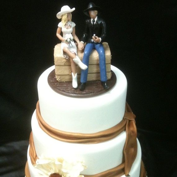 Country Western Wedding Cake Topper Couple Wearing Cowboy Boots And