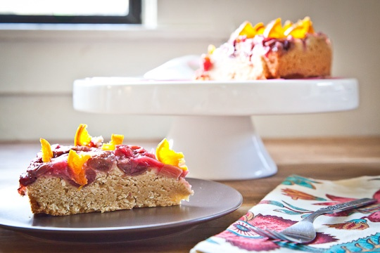 Sweet Cherry Rhubarb Semolina Cake With Candied Clementines Recipe ...