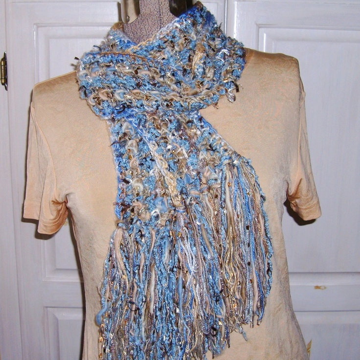 Rich Crochet Scarf, Bronze Sapphire, Sparkly and Satin-y, Dusty Sky Blue Gold, Photo Prop.