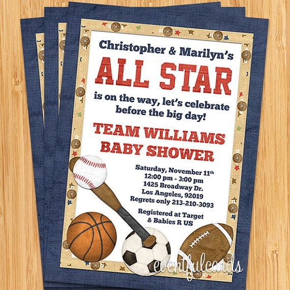 all star sports baby shower invitation by eventfulcards