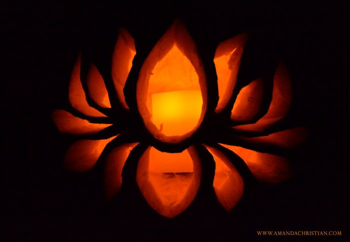 Lotus Flower Carved Into A Pumpkin Click Through For The