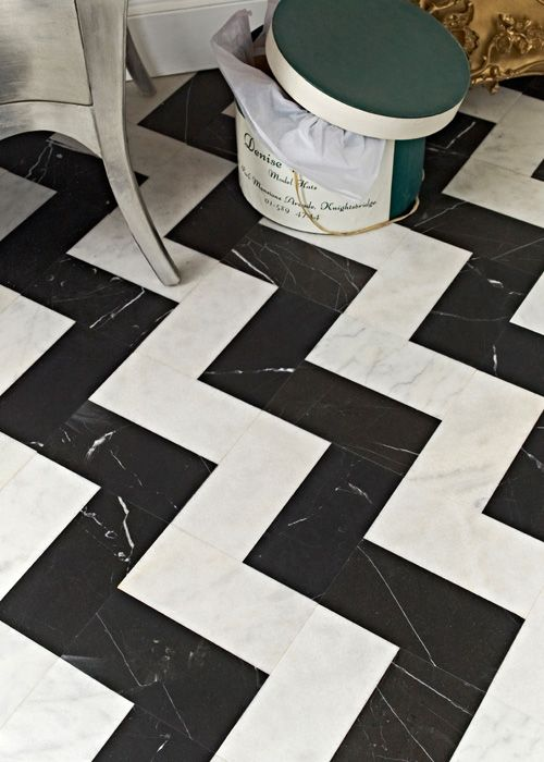 Black And White Tile Zigzag Marble Floor Powder Room
