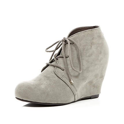 grey wedge ankle boots just my style