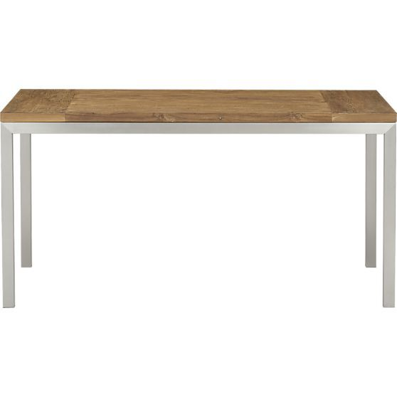 Teak Top 60x36 Dining Table With Stainless Steel Base In Dining Tables