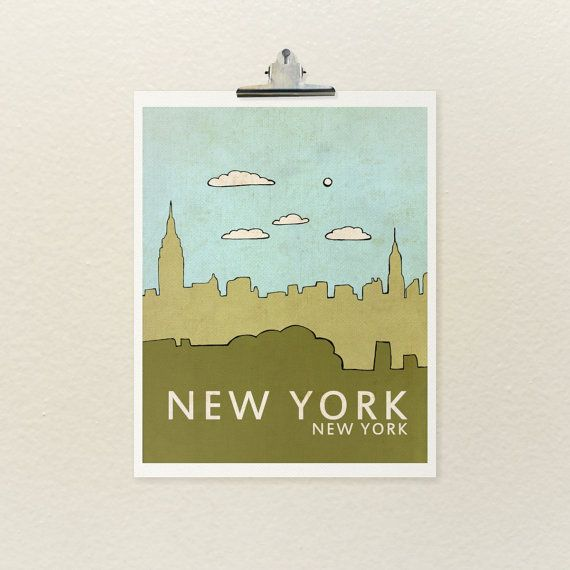 New York 8x10 / Nursery Decor, Art Poster, Typography Print, NYC, City Skyline, Giclee, Kids Room, Travel Theme, Map, Digital Print, Loft via Etsy
