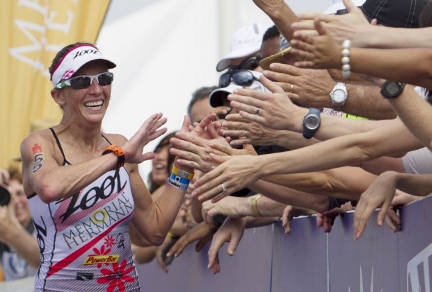 Kelly Williamson enjoying her win at Ironman 70.3 Texas (Triathlete.com)