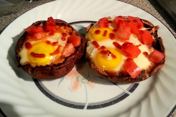 Baked Eggs & Herbs In Portabella Mushroom Caps Recipe — Dishmaps