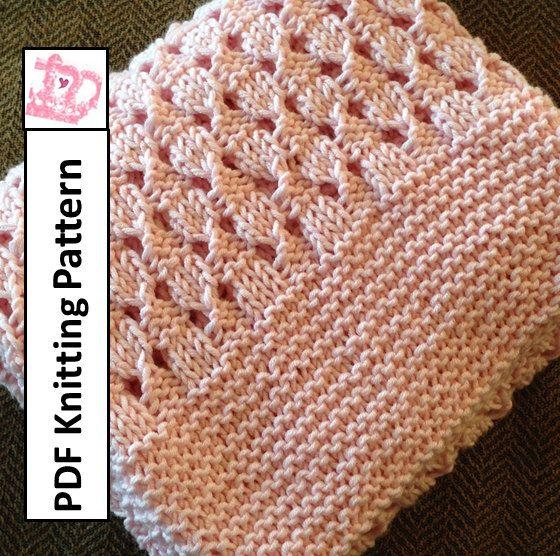 PDF Knitting Pattern - Basketweave Baby Blanket/throw/afghan 28x36