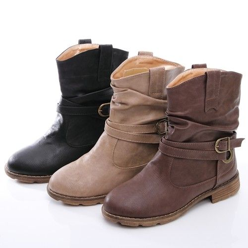 Boyfriend Military Mid Calf Flat Ankle Boots Booties Black Brown BeigeBrown Flat Ankle Boots