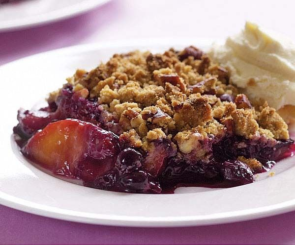 Peach & Blueberry Crisp with Spiced-Pecan Topping by Fine Cooking
