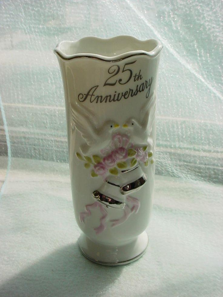 Vintage Flower Vase 25th Wedding Anniversary Gift Idea Doves Bells And