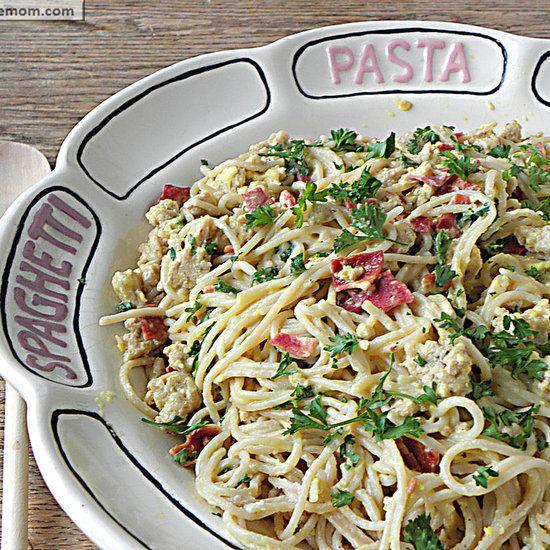 Lightened Up Spaghetti Carbonara with Chicken