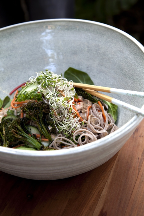 Soba noodle salad (roasted broccolini, baby winter greens, raw almond ...