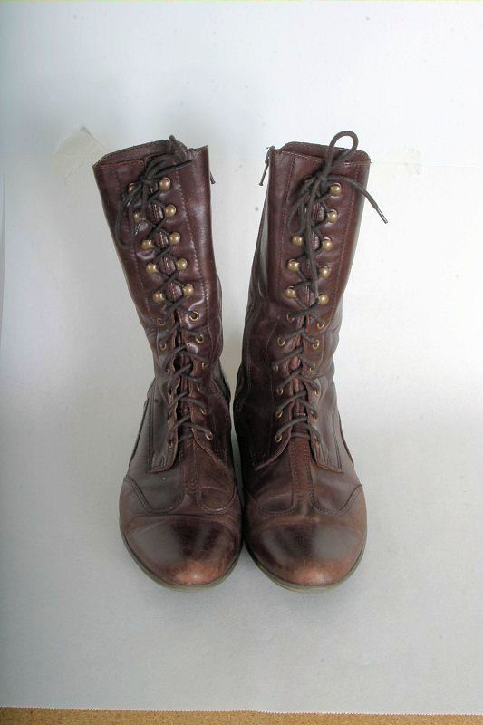 Awesome Womens Office Beanie Lace Up BLACK LEATHER Boots  EBay