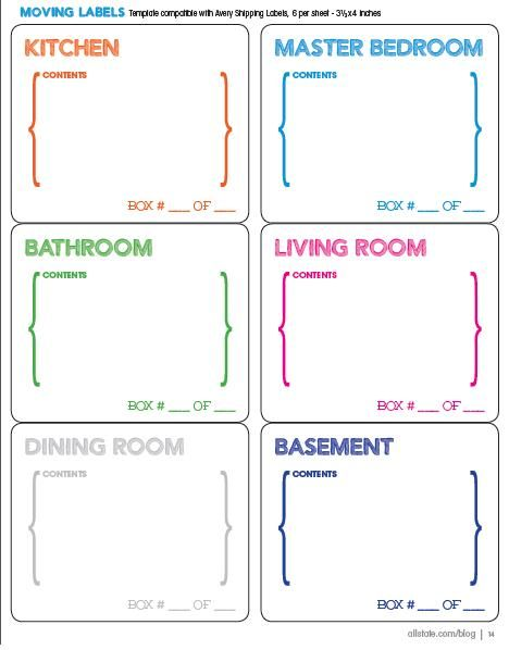 Moving Guide Printable Moving Labels
