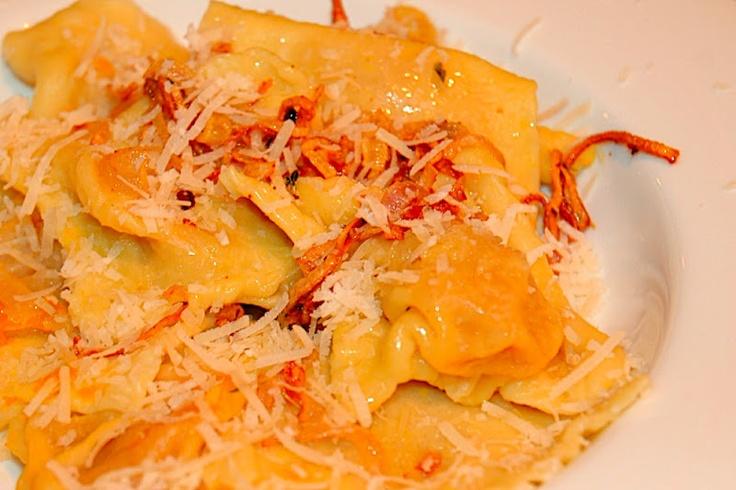 Buttercup Squash Ravioli with Parmesan Butter Sauce.