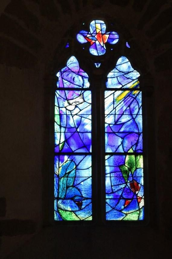 La Chapelle du Saillant, Voutezac, Correze, France.  Stained glass by Marc Chagall