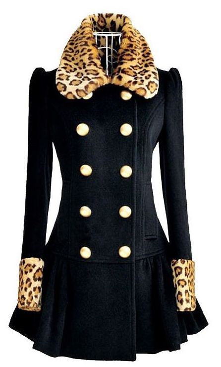 Navy Blue Coat For Women-Leopard Collar Winter Navy Blue Coat-Leopard