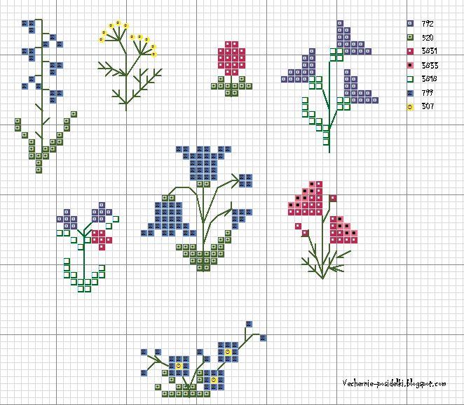 Вышивка крестом маленький цветок 802