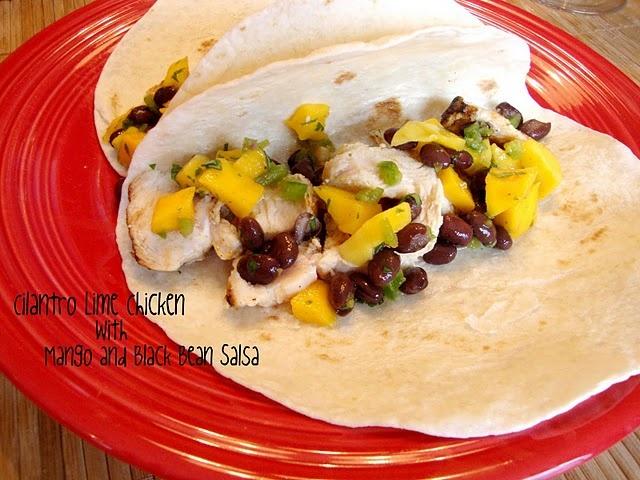cilantro lime chicken with mango and black bean salsa