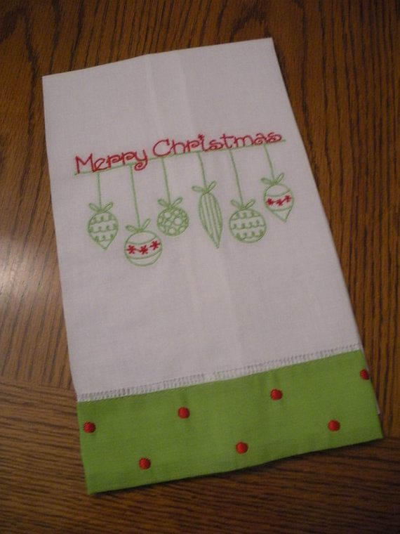 Christmas Embroidered Hand Kitchen Decorative Towel